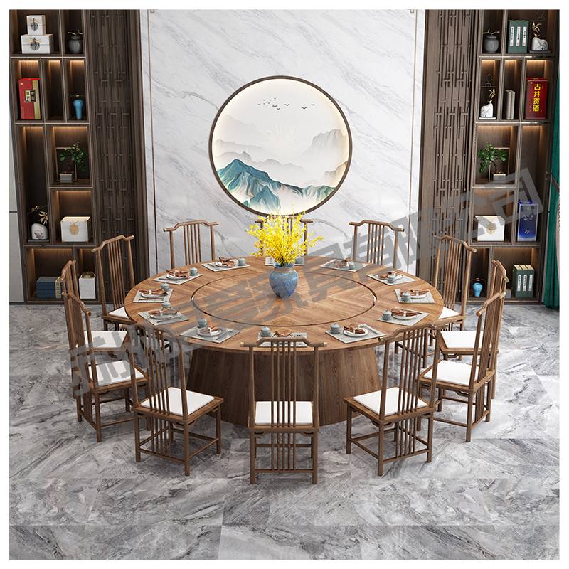 Hotel electric dining table Large round table Hot pot table Modern new Chinese round table 15 10 20 people Banquet Chinese table