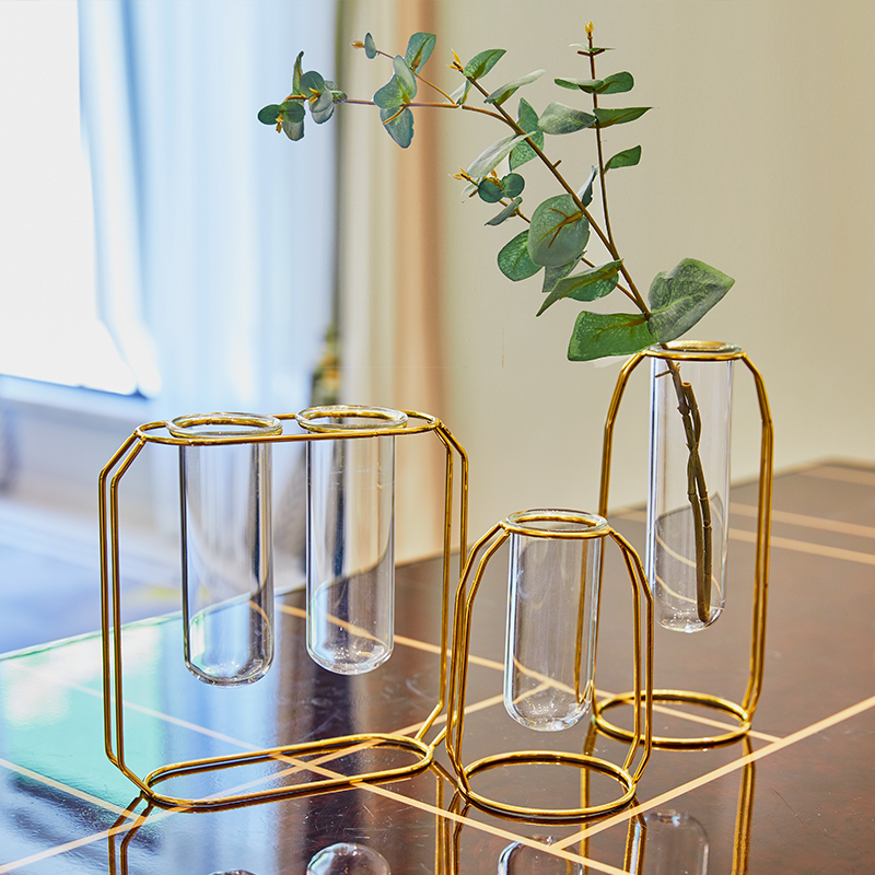 Golden test tube flower vase [three sets] to send eucalyptus floral set