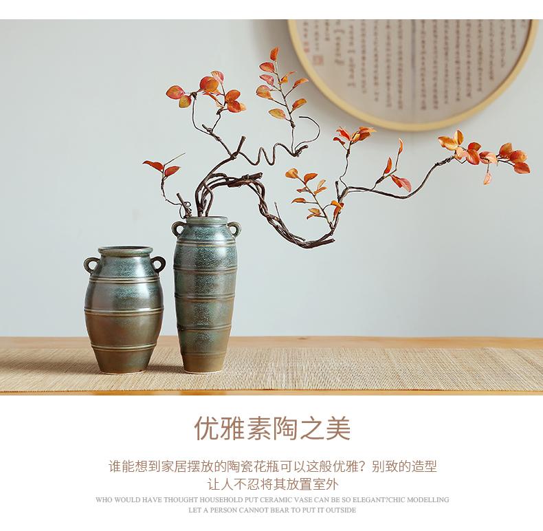 Jingdezhen ceramic vase household living room TV cabinet decoration checking crafts flower arranging flower implement desktop furnishing articles