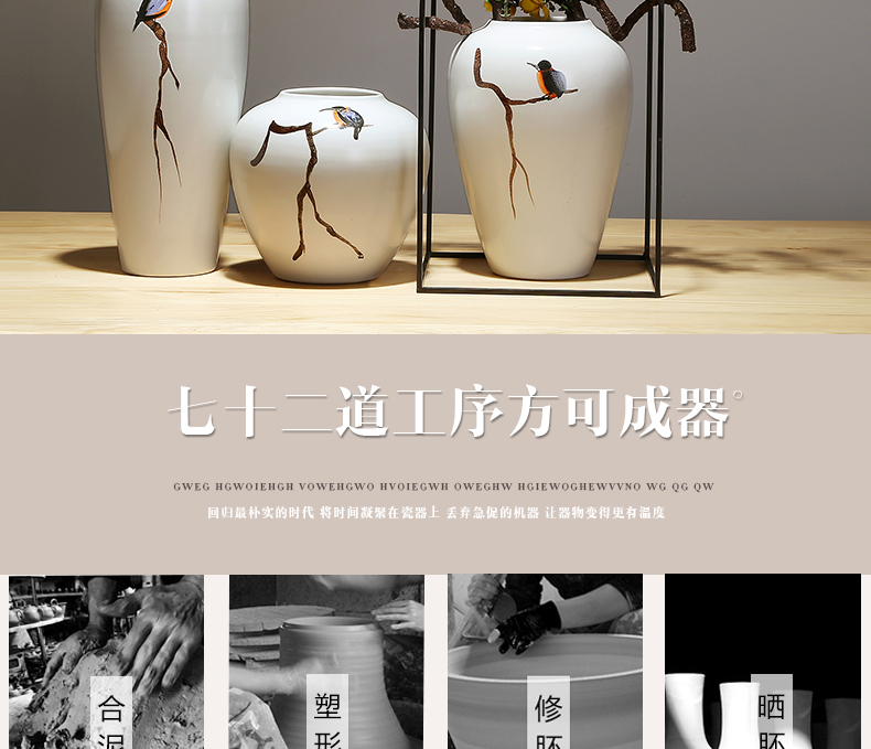 New Chinese style of jingdezhen ceramics vase modern creative home New Chinese style porch modern mesa vase suits for