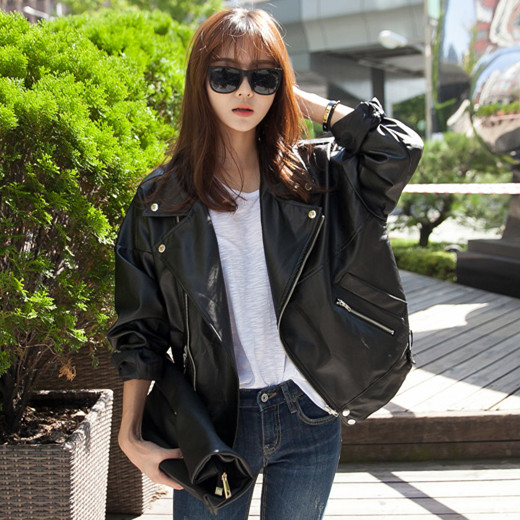 abc53848f96ec Spring 2019 New Haining sheep leather leather women Korean version of the  Loose Ladies jacket Jacket large size women s trend