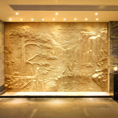 Professional custom artificial sandstone glass steel imitation copper relief background wall mountain water character sculpture relief decoration mural
