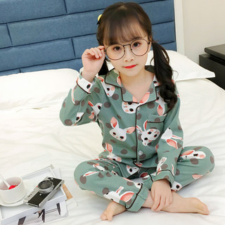 Children's pajamas girl spring and autumn cotton suit summer baby big child little girl thin family clothes
