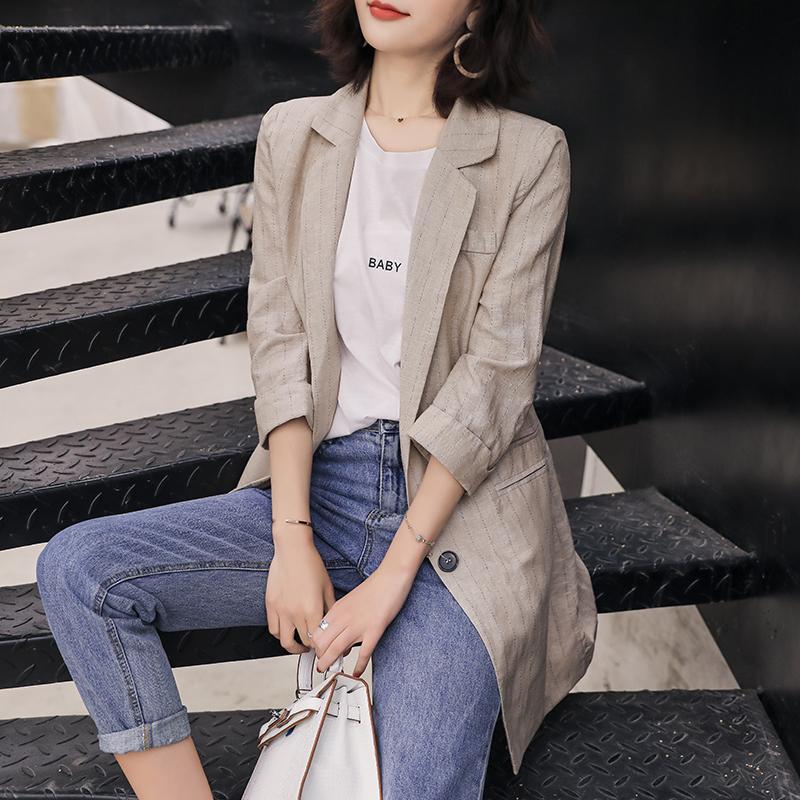条纹小西装女2019流行法式小外套薄款夏棉麻a条纹七分袖上衣女西服