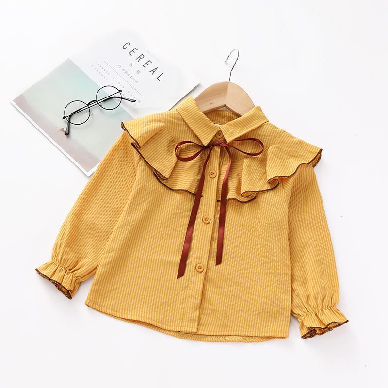 女童开衫2019新款韩版长袖荷叶衬衣衬衫上衣边中条纹宝宝小童翻领
