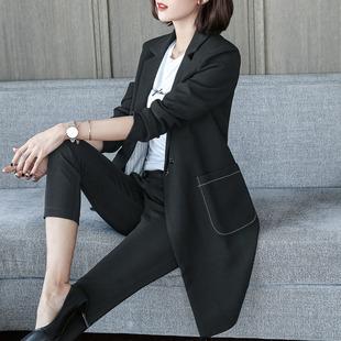 Чёрный с длинными рукавами небольшой костюм женщина пальто 2019 весна в новый длинная модель случайный корейский мисс тонкий костюм волна