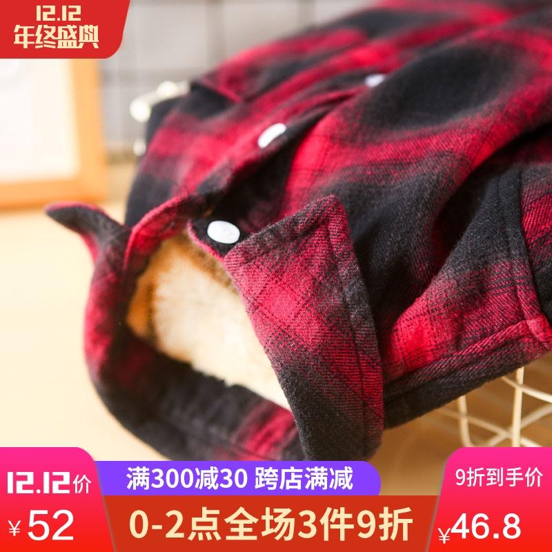 2018秋冬童装男童加绒格子衬衫儿童加绒加厚保暖衬衣宝宝加棉上衣