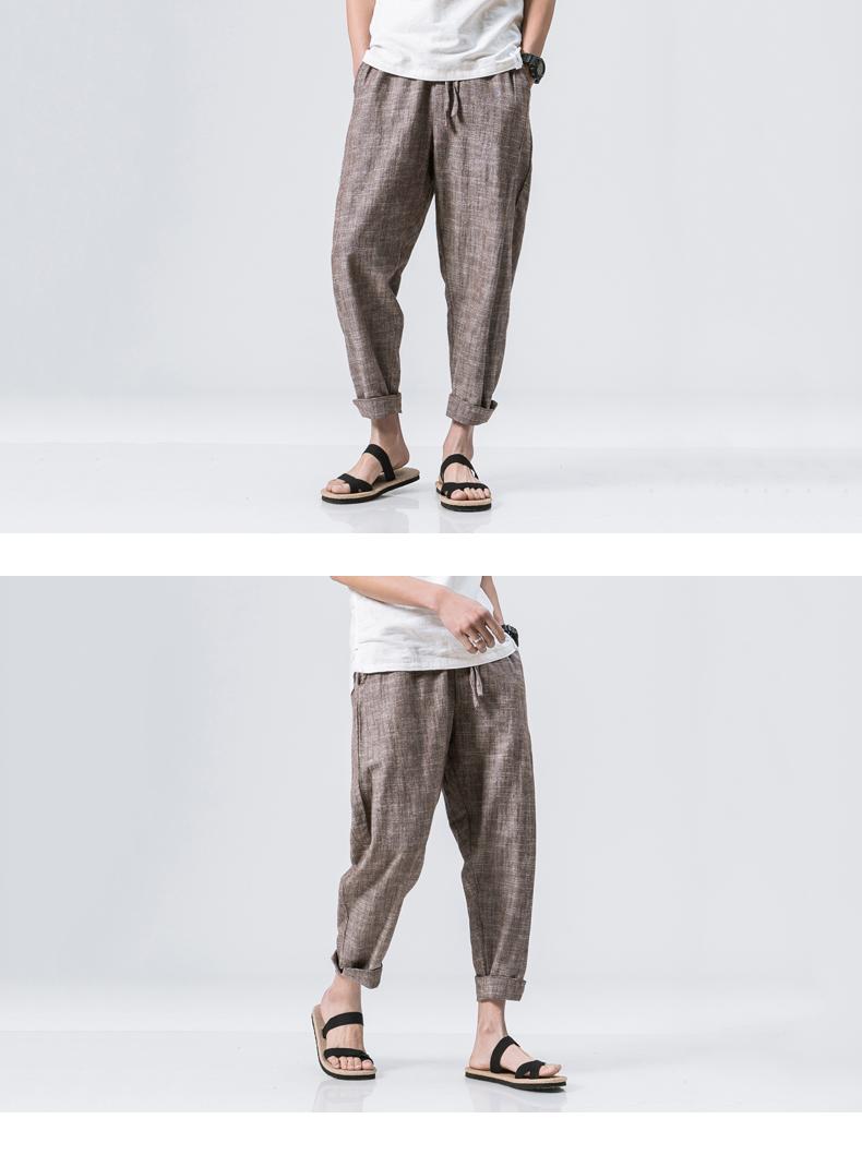 Mùa hè Trung Quốc phong cách của nam giới quần linen cotton lỏng linen chín quần 9 điểm harem quần giản dị chân rộng quần đèn lồng