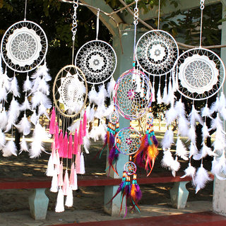 Dreamcatcher large white feather ornaments wind chimes hanging pendant make Monternet Indian wedding decorations wedding Sen Department