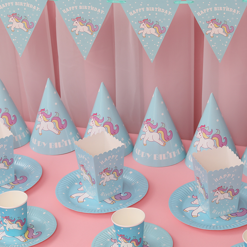 4d42925b182 Baby full moon hundred days layout supplies pony theme party disposable  tableware birthday hat paper cup ...