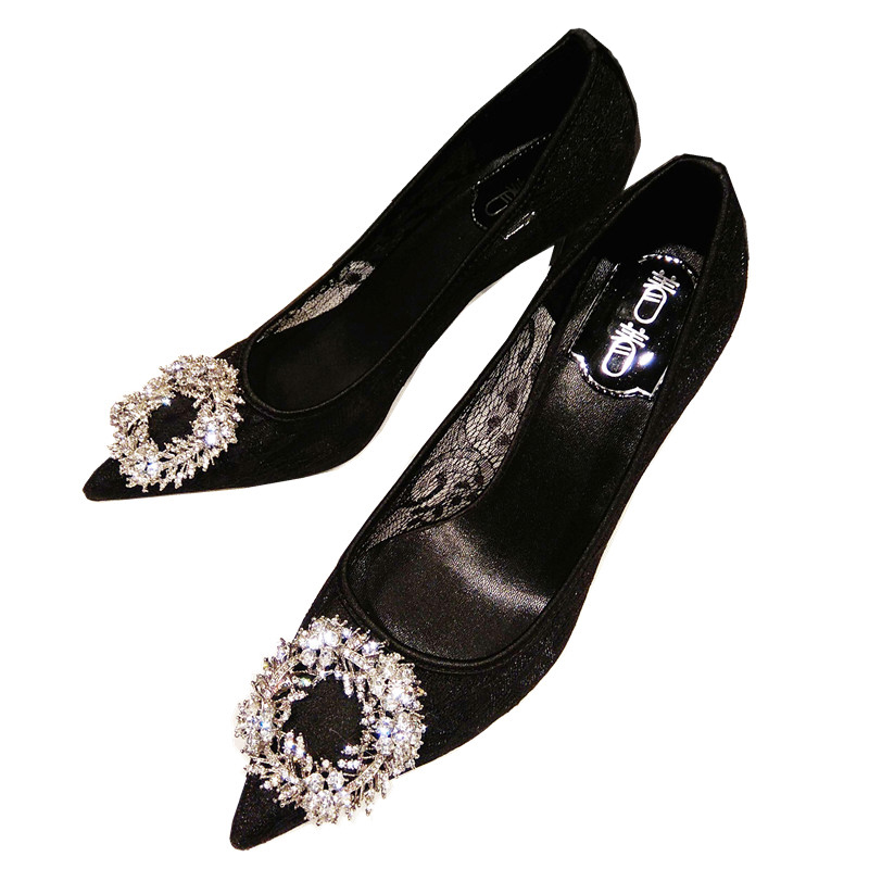94647a86aa1ed 2018 summer Europe and the United States new rhinestone pointed high heels  lace hollow high heel leather shoes large size shoes women -  BuyChinaFrom.com ...