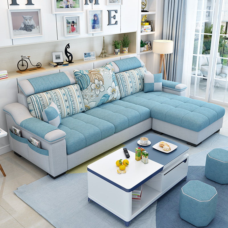 现代简约2020款布艺沙发北欧小户型客厅可拆洗科技布沙发组合套装