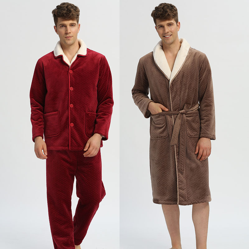 2019新世套装男士新款睡衣a套装家居服长袖复合绒男秋冬家族睡袍