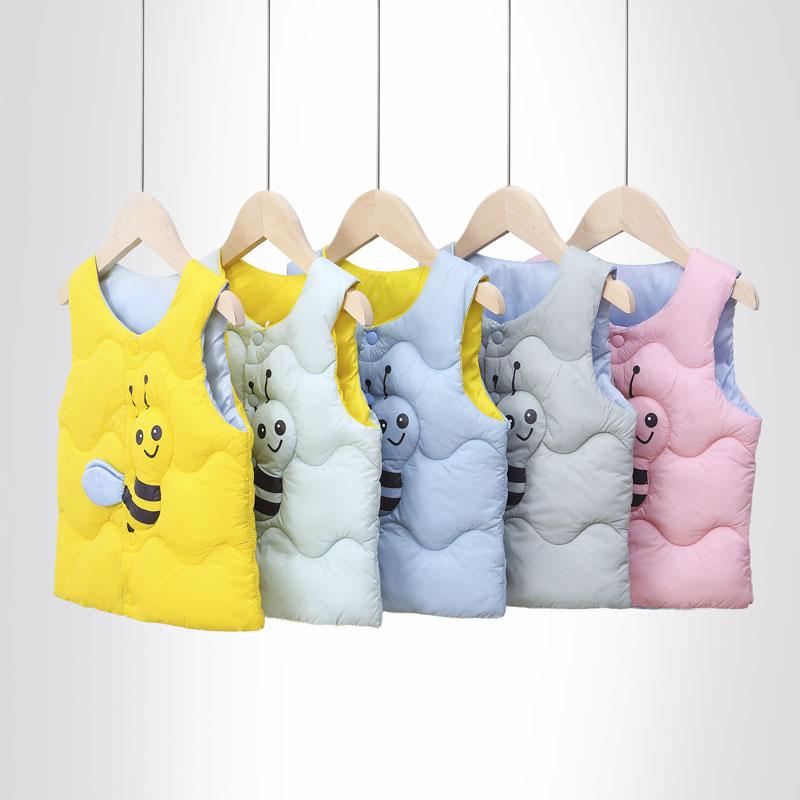 2020新款小蜜蜂儿童棉背心宝宝装秋冬季男女童坎肩休闲保暖小马甲
