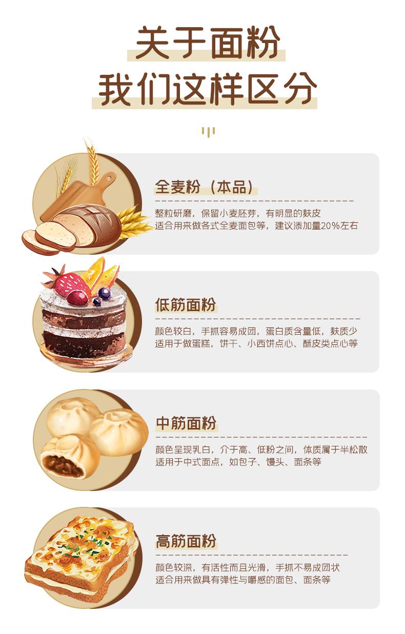 百钻全麦粉面粉家用含麦麸小麦粉馒头吐司麵包烘焙专用原料详细照片