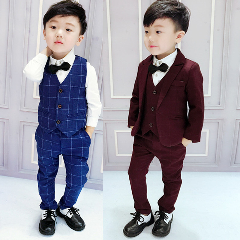 04b9b02a 3 boys Suit Suit 4 handsome 5 children's suit Korean version of the spring  and Autumn 2-year-old baby vest dress three-piece British
