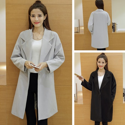 Non-mainstream women's clothing Korean tide 90 after the autumn new long section woolen coat woolen jacket students wear