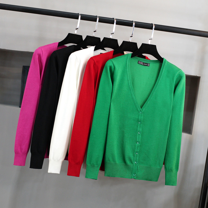 针织开衫女 V领韩版潮短款毛衣修身显瘦大码外搭长袖春秋装小外套