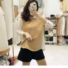 韩版新款长袖T恤女假两件
