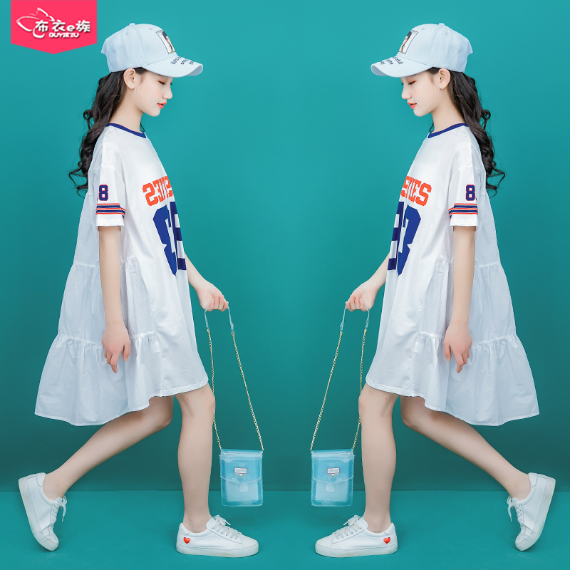10 girls Big children's dress 2019 new summer loose girls 12 Korean version of the summer 15 years old fashion skirt