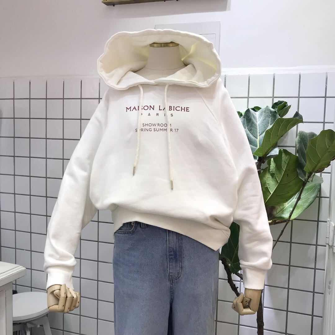 韩国ulzzang2019秋季款v字母简单小字母连帽卫衣女薄款学生帽衫潮
