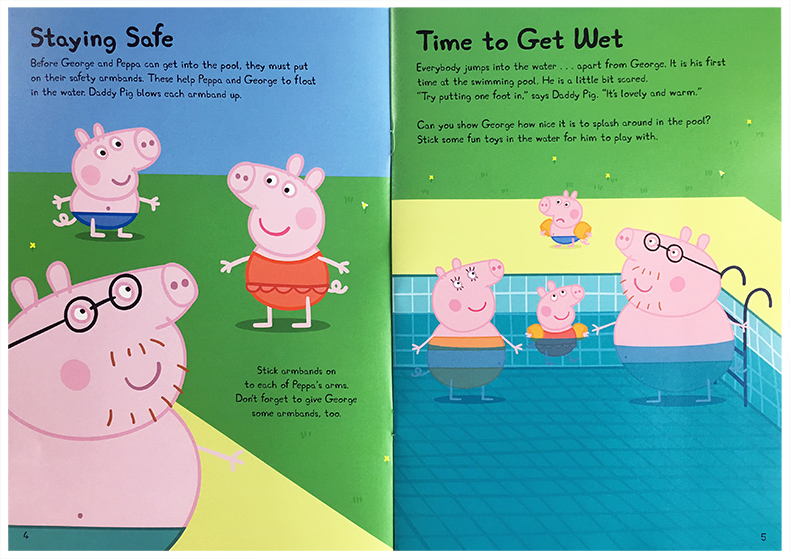 English Original Picture Book Peppa Pig Goes Swimming Pink Piggy Girl Page Go Swimming 3 6 8 Year Old Children Open Sticker Game Story Book