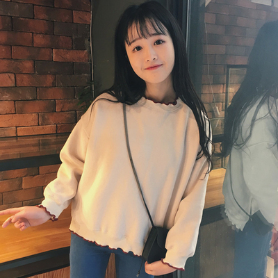 Autumn and winter new women's long-sleeved hedging sweater and cashmere Harajuku bf wind female students short section half high collar solid color shirt