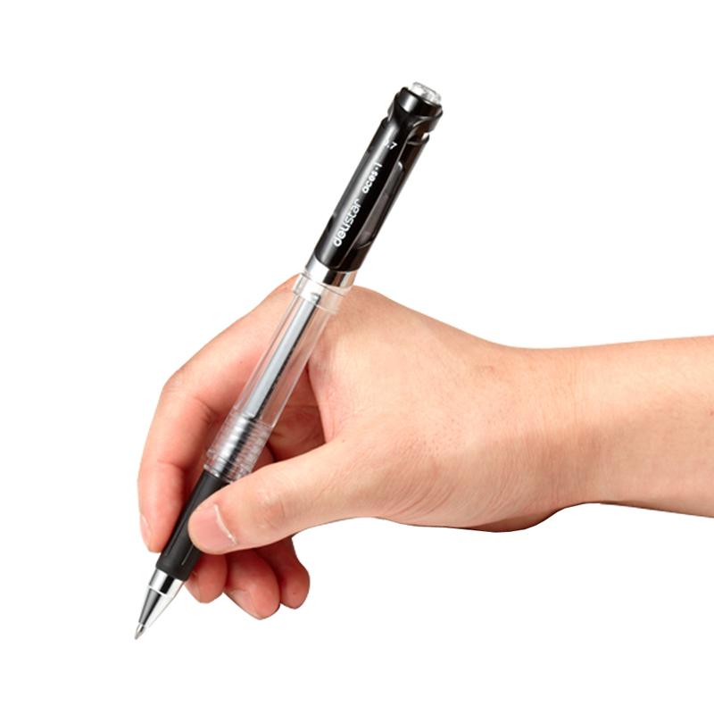 得力加粗中性笔0.7mm粗笔芯签字笔按动式黑色学生用练字教师批改专用红水笔商务签名1.0办公用粗笔杆碳素黑笔
