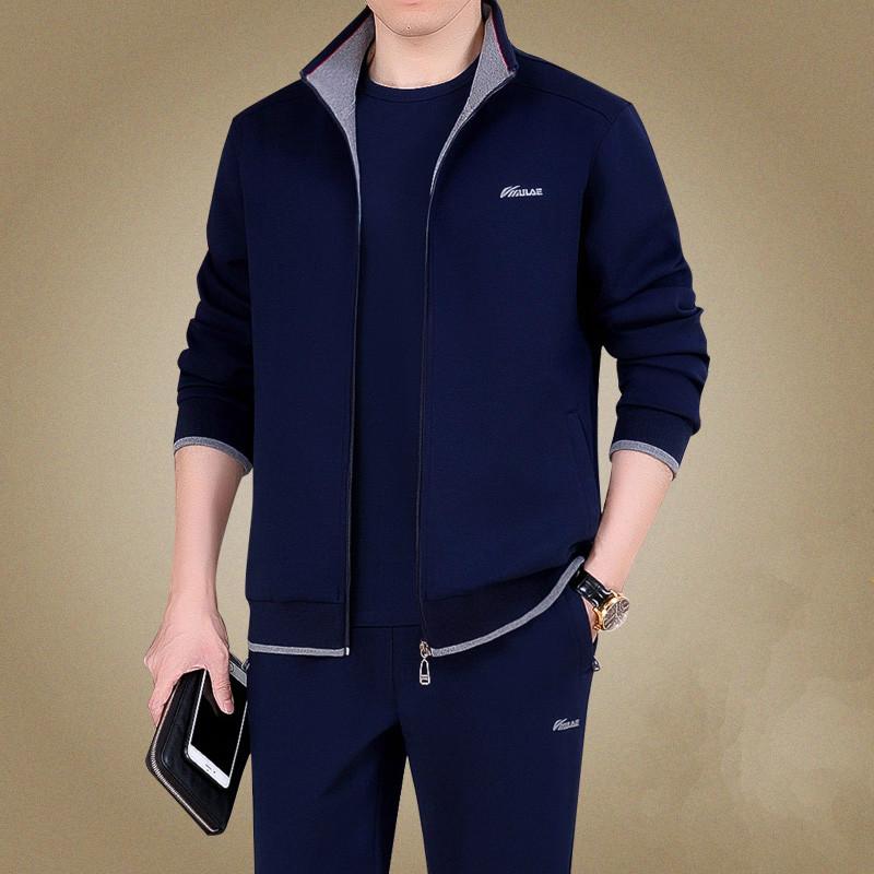 中老年运动套装男春秋三件套爸爸休闲运动服套装男士大码运动衣男