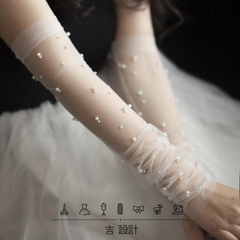 Шифон модель перл марля длинная модель жемчужина перчатки прозрачный крышка рука невеста выйти замуж свадьба вегетарианец голый пряжа аксессуары