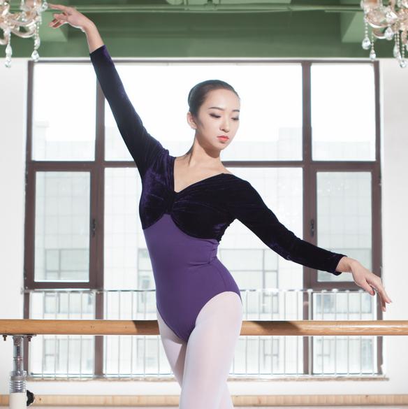 芭蕾舞练功服 长袖秋冬体操服连体服形体服女成人 考级训练舞蹈服