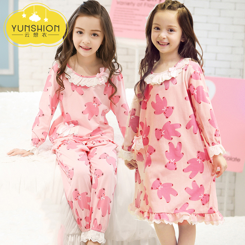 Girls nightdress long-sleeved cotton girl Princess spring and autumn parent-child  children s pajamas women thin summer baby home service d8173ef6e