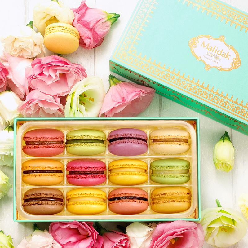 玛呖德 马卡龙法式甜点礼盒装 12枚