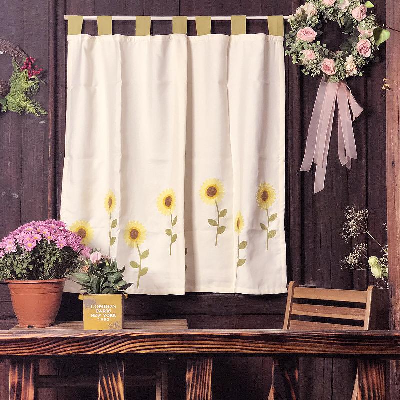 美式厨房向日葵太阳花半帘田园窗帘绣花帘短帘穿杆帘免打孔门帘