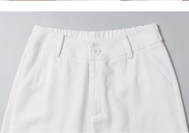 白色天丝亚麻宽裤女垂感宽鬆春秋女裤高腰直筒显瘦高端棉麻裤子详细照片