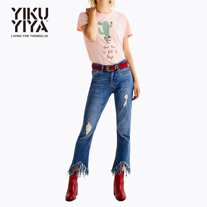 甜美卡通仙人掌图案软妹粉色上衣 清新可爱字母图案减龄短袖T恤