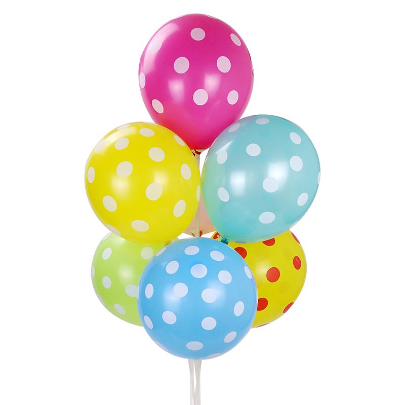 包邮 12寸加厚气球 五面印刷圆点气球 波点斑点拍照婚庆礼品气球