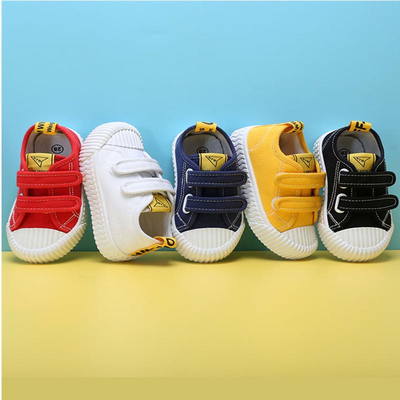 男女童小白鞋2020春秋新款重工鞋百搭童鞋宝宝饼干鞋儿童帆布鞋子