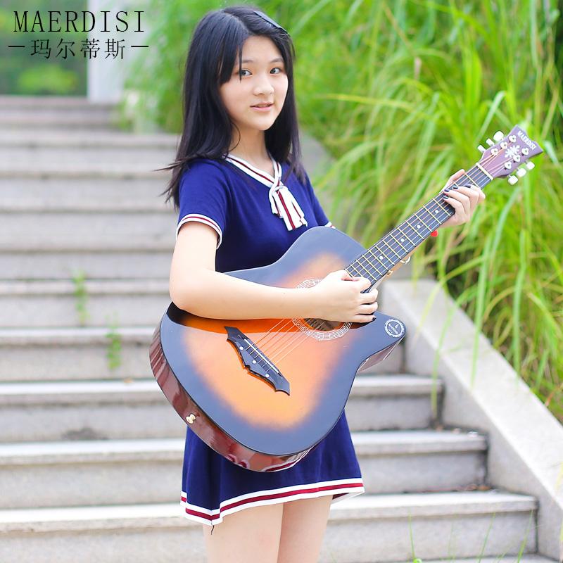 【单板】41寸初学者吉他38寸民谣木练习男女学生jita40寸乐器吉它