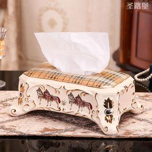 圣路堡欧式陶瓷布纹餐桌纸巾盒客厅装饰复古摆件婚庆乔迁礼品包邮