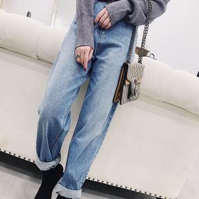 秋冬新款萝卜型宽松显瘦卷边牛仔裤