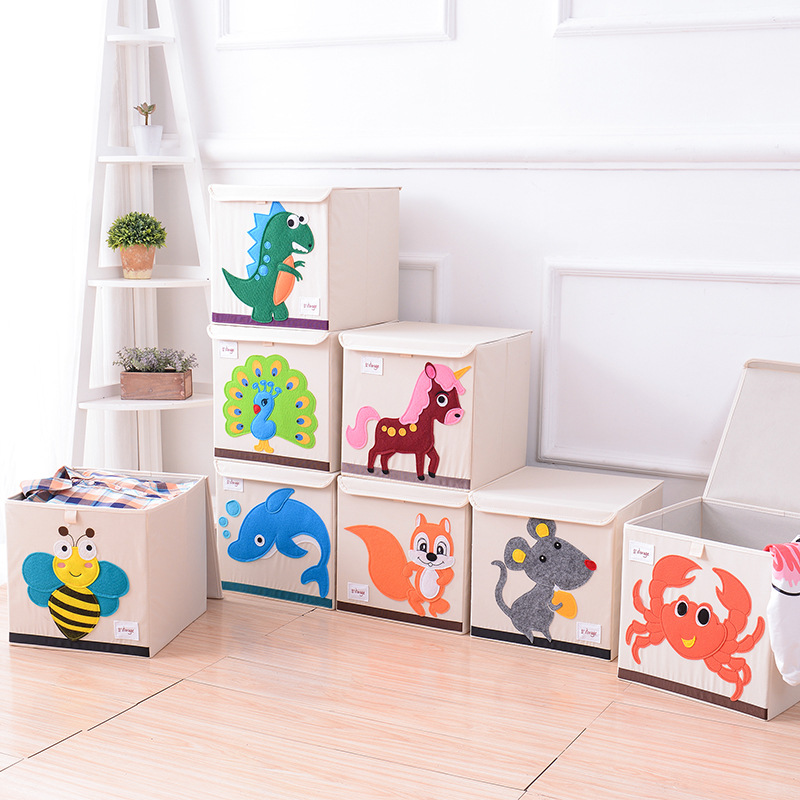 Cartoon Cover Baby Toy Storage Box Child Toy Box Storage Box Cloth Art  Sorting Box Toy