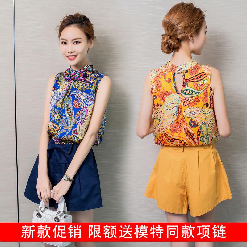 张叶女装2016夏季新款时尚休闲个性修身短装两件套上衣短裤套装潮