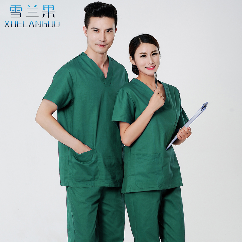 Selangor cotton washcoat short-sleeved doctor clothes men and women ...