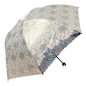 红叶太阳伞防晒防紫外线女蕾丝刺绣花双层洋伞黑胶折叠高贵遮阳伞