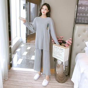 菠萝睡衣女春秋纯棉长袖薄款可爱学生韩版宽松家居服实拍