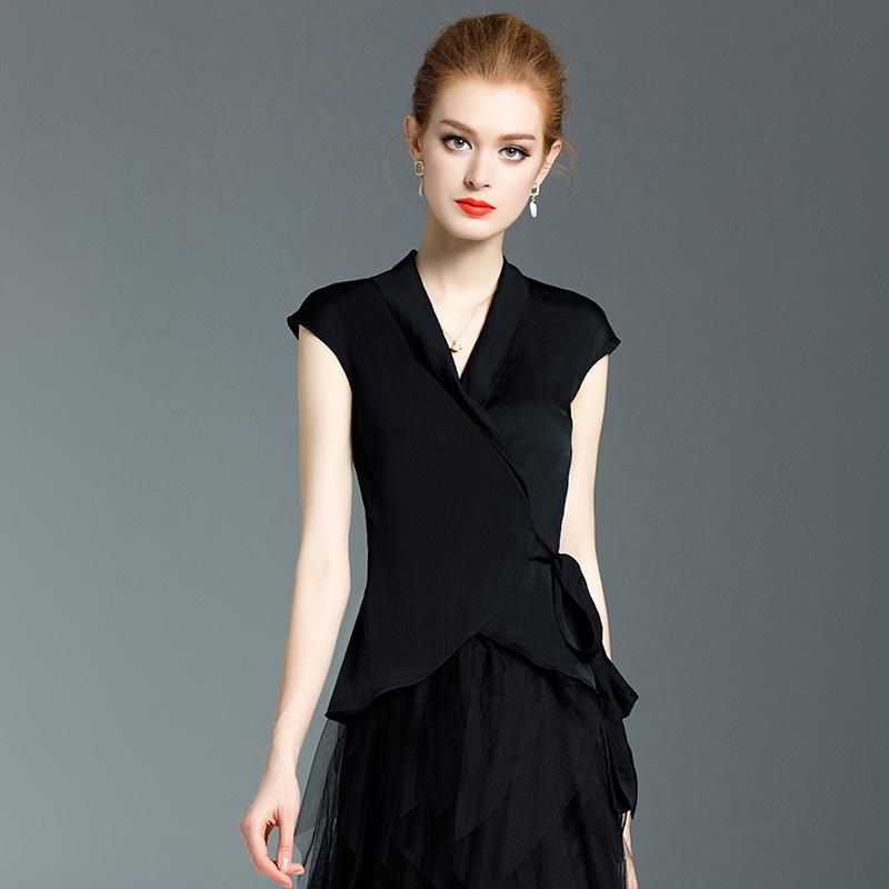 雪纺上衣时尚衫衬衫黑色女夏季2019新款欧货洋气收腰v雪纺v领短袖