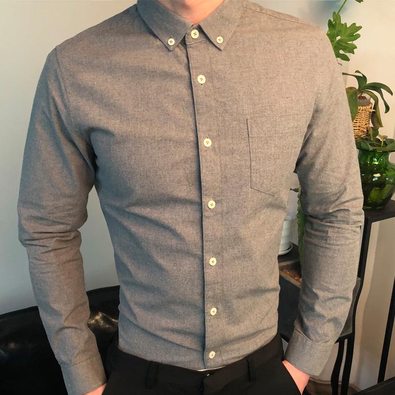 米川秋季纯棉色纺男装长袖衬衫青年修身磨毛休闲衬衣纯色寸衫寸衣