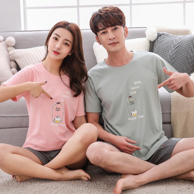 韩版睡衣情侣短袖纯棉夏季可外穿男女士条纹休闲全棉家居服套装