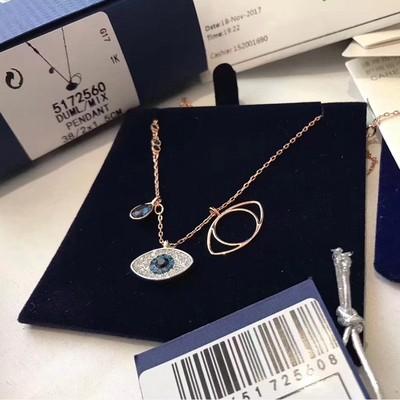 正品施华洛跳动的心项链女蓝色渐变大小天鹅水晶锁骨链送女友礼物